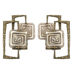 Pair of Murano Glass Sconces by Angelo Brotto