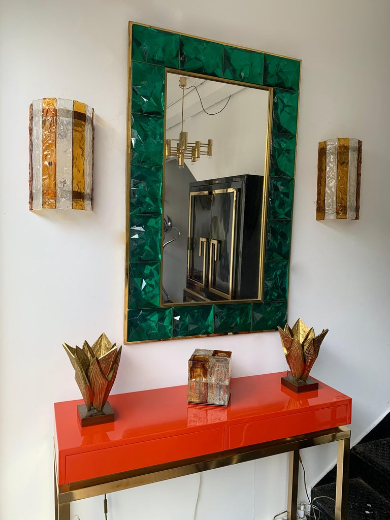 Italian Pair of Murano Glass Sconces by Mazzega, Italy, circa 1970s For Sale