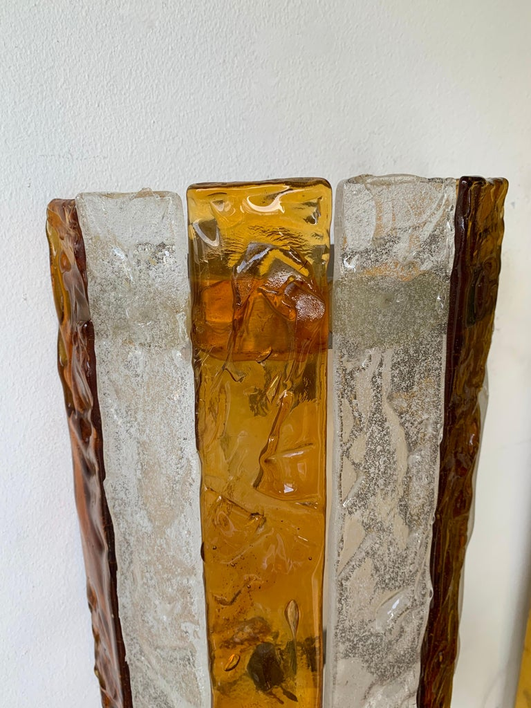Pair of Murano Glass Sconces by Mazzega, Italy, circa 1970s In Good Condition For Sale In SAINT-OUEN, FR