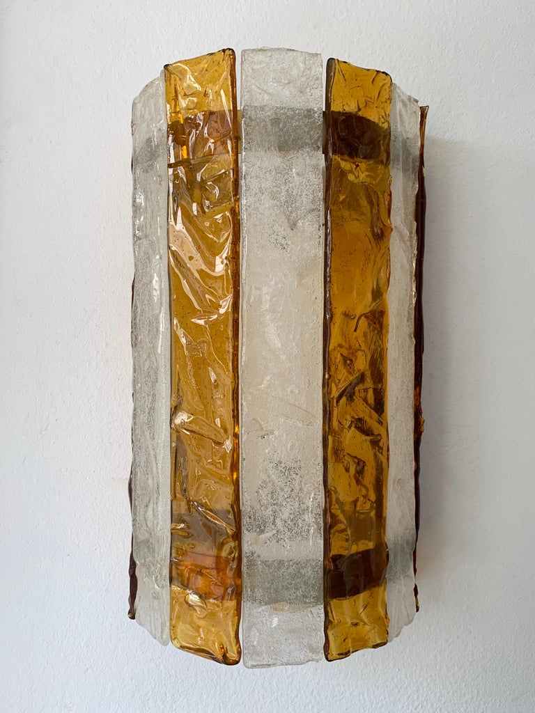 Pair of Murano Glass Sconces by Mazzega, Italy, circa 1970s For Sale 1