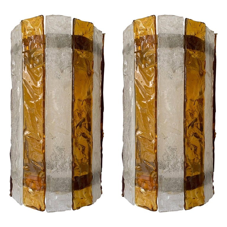 Pair of Murano Glass Sconces by Mazzega, Italy, circa 1970s For Sale