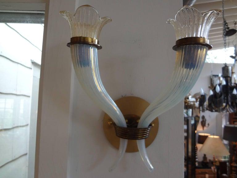 Italian Pair of Murano Glass Sconces by Salviati, circa 1940 For Sale