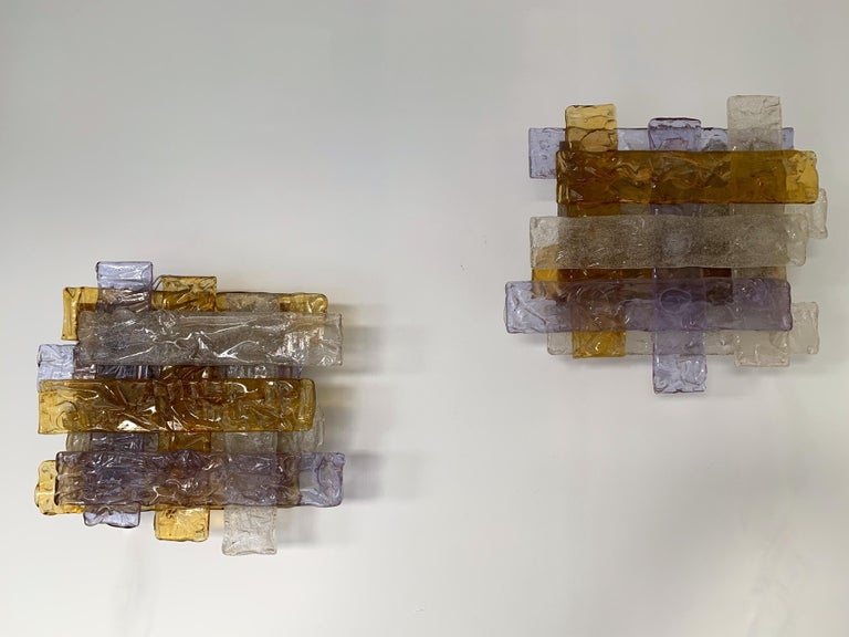 Late 20th Century Pair of Murano Glass Sconces by Venini, Italy, 1970s For Sale