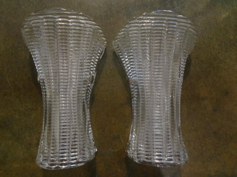 Late 20th Century Pair of Mid-Century Modern Murano Glass Sconces For Sale