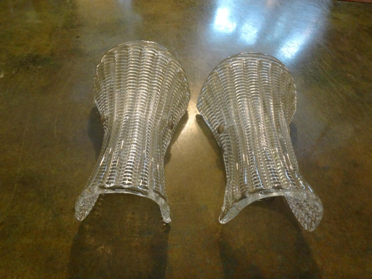 Pair of Mid-Century Modern Murano Glass Sconces For Sale 1