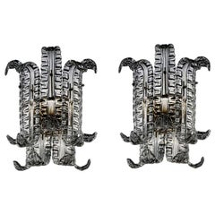Pair of Murano Glass Sconces in Grey