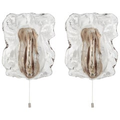 Pair of Murano Glass Sconces Wall Lights by Kalmar, Austria, 1960s
