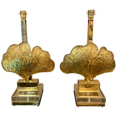 Pair of Murano Glass Shell Table Lamps Gilt Leaves Brass Structure, 1970s