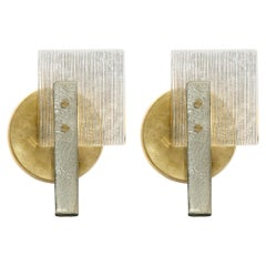 Pair of Murano Glass Silver and Gold Leaf Sconces