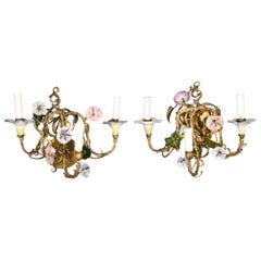Pair of Porcelain Style Floral Sconces from Italy