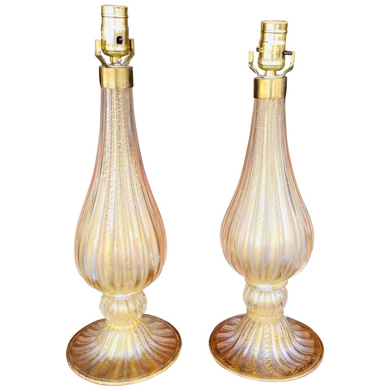 Pair of Murano Glass Style Table Lamps with Gold Accents For Sale