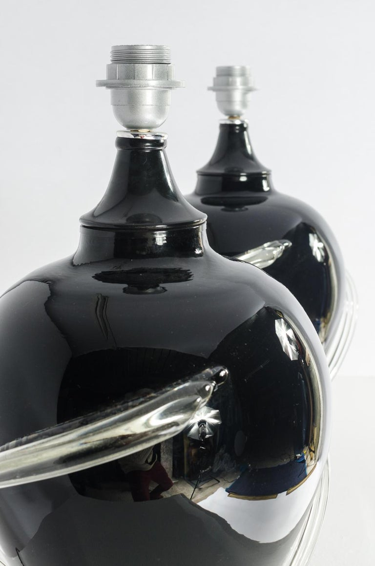 Pair of Murano glass Table Lamps, circa 1980s For Sale 3