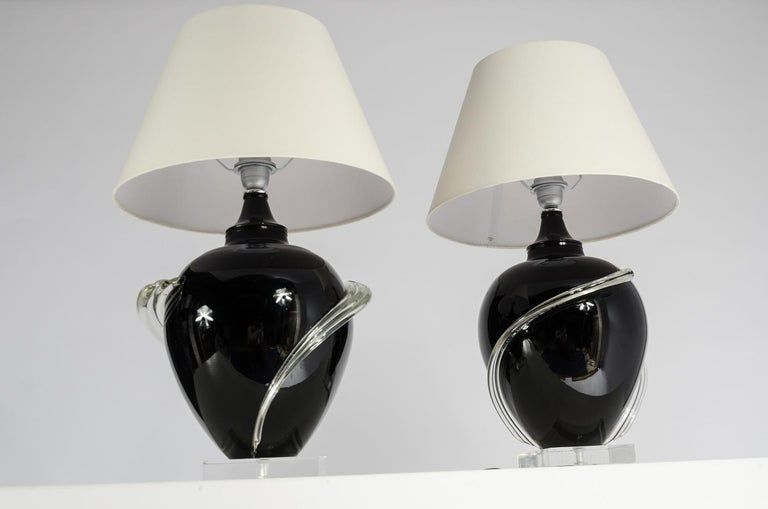 Italian Pair of Murano glass Table Lamps, circa 1980s For Sale