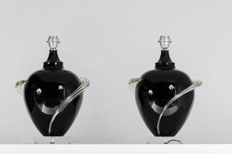 Pair of Murano glass Table Lamps, circa 1980s In Good Condition For Sale In Brussels, BE