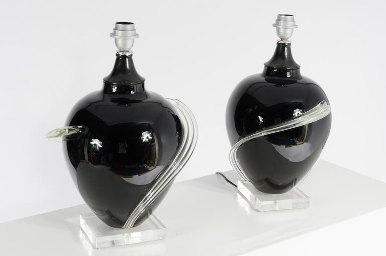 Late 20th Century Pair of Murano glass Table Lamps, circa 1980s For Sale