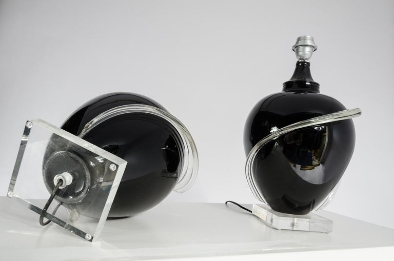Pair of Murano glass Table Lamps, circa 1980s For Sale 1