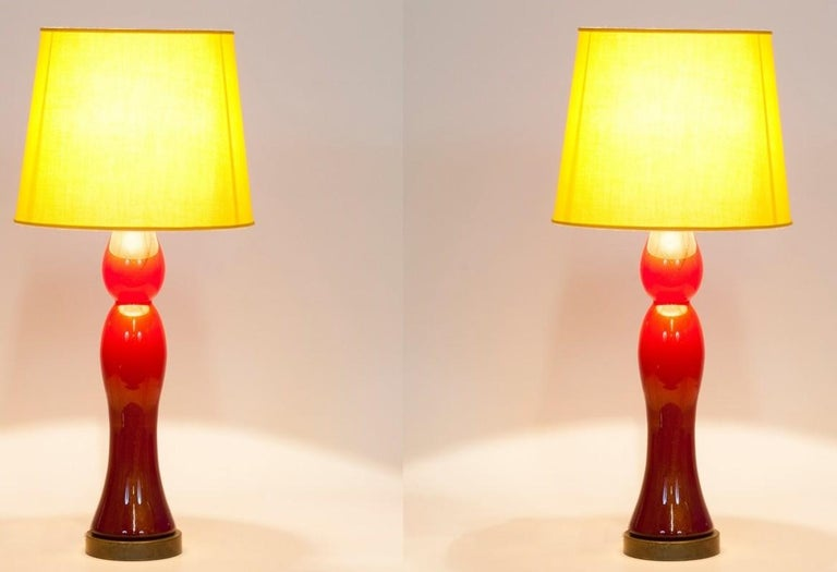 Pair of Murano Glass Table Lamps Coral and Gold Leaf Color, 1980s For Sale 6