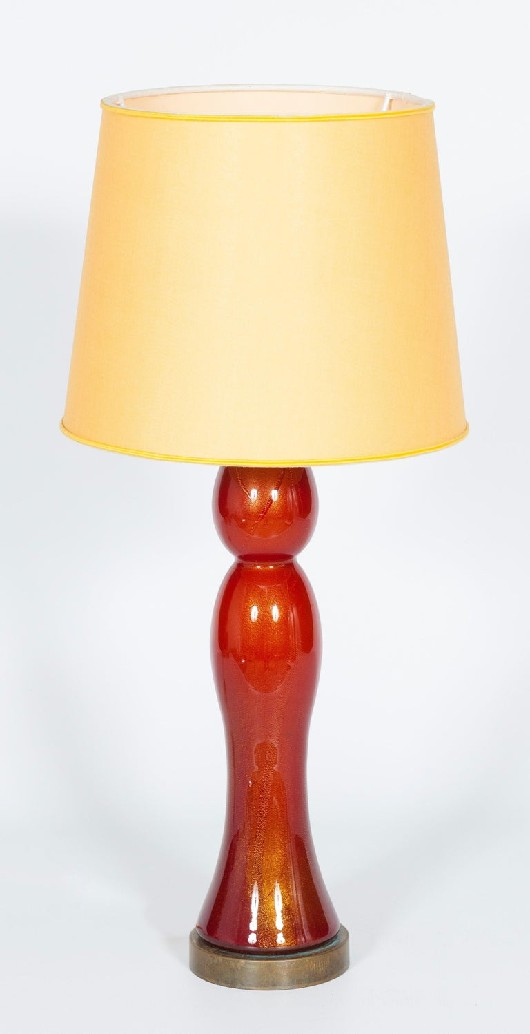 Italian Pair of Murano Glass Table Lamps Coral and Gold Leaf Color, 1980s For Sale