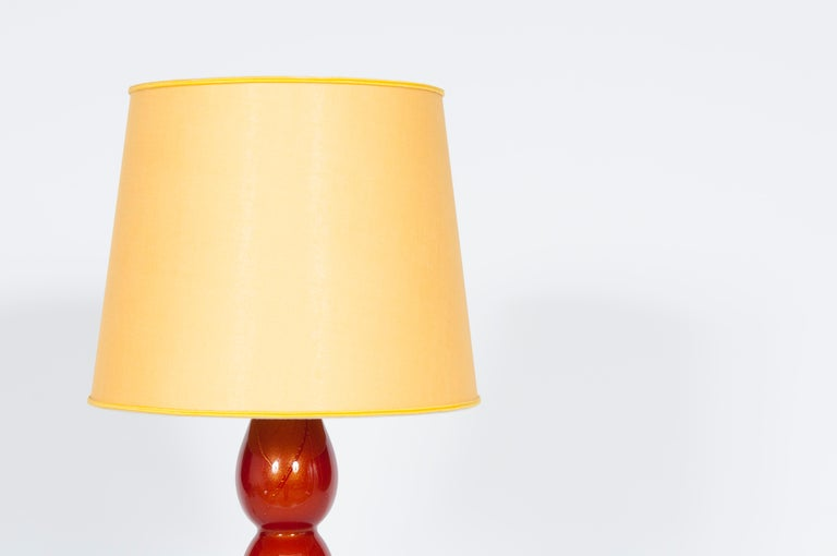 Hand-Crafted Pair of Murano Glass Table Lamps Coral and Gold Leaf Color, 1980s For Sale