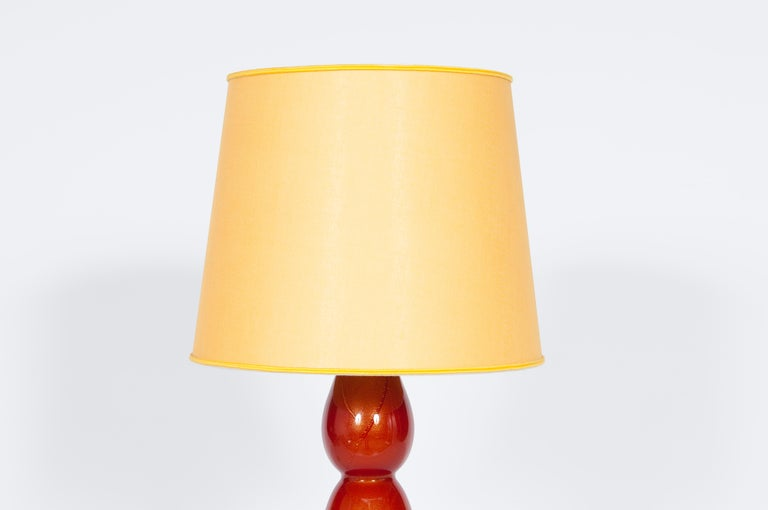 Pair of Murano Glass Table Lamps Coral and Gold Leaf Color, 1980s For Sale 1