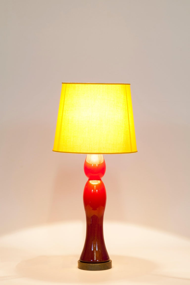 Pair of Murano Glass Table Lamps Coral and Gold Leaf Color, 1980s For Sale 2