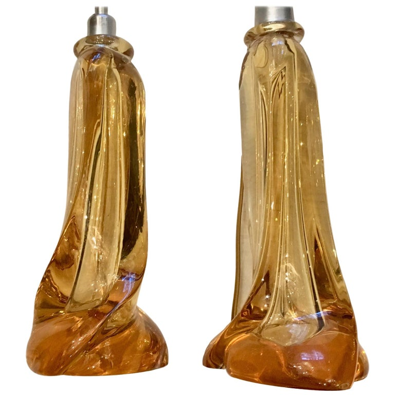Pair of Murano Glass Table Lamps For Sale