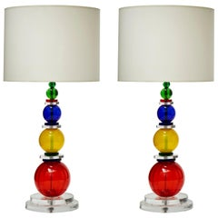Pair of Murano Glass Table Lamps with Multi-Color Spheres