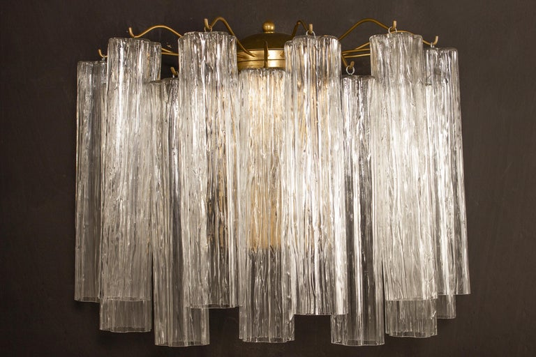 Italian Pair of Murano Glass Tronchi Sconces, 1970s For Sale