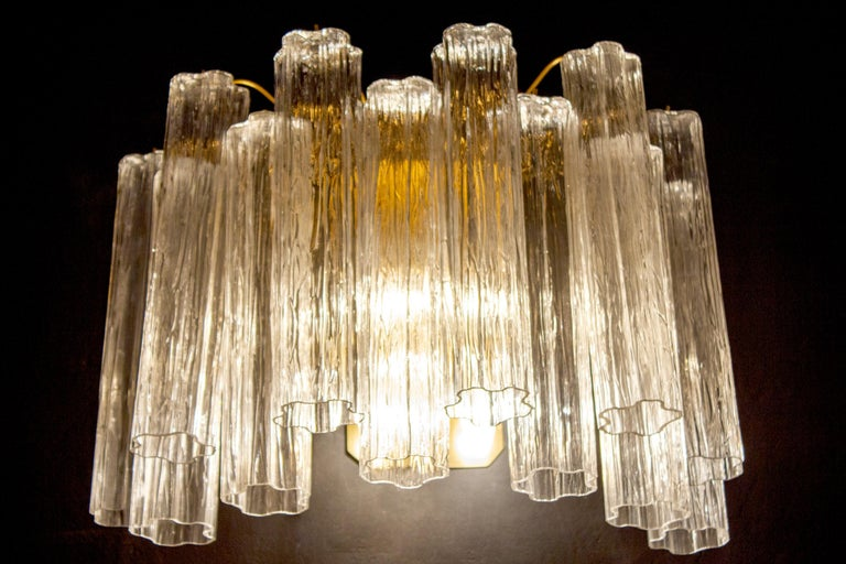 Late 20th Century Pair of Murano Glass Tronchi Sconces, 1970s For Sale
