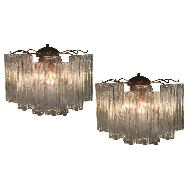 Blown Glass Pair of Murano Glass Tronchi Sconces, 1970s For Sale