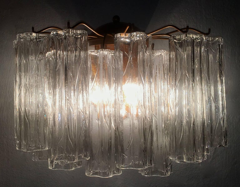 Pair of Murano Glass Tronchi Sconces, 1970s For Sale 2