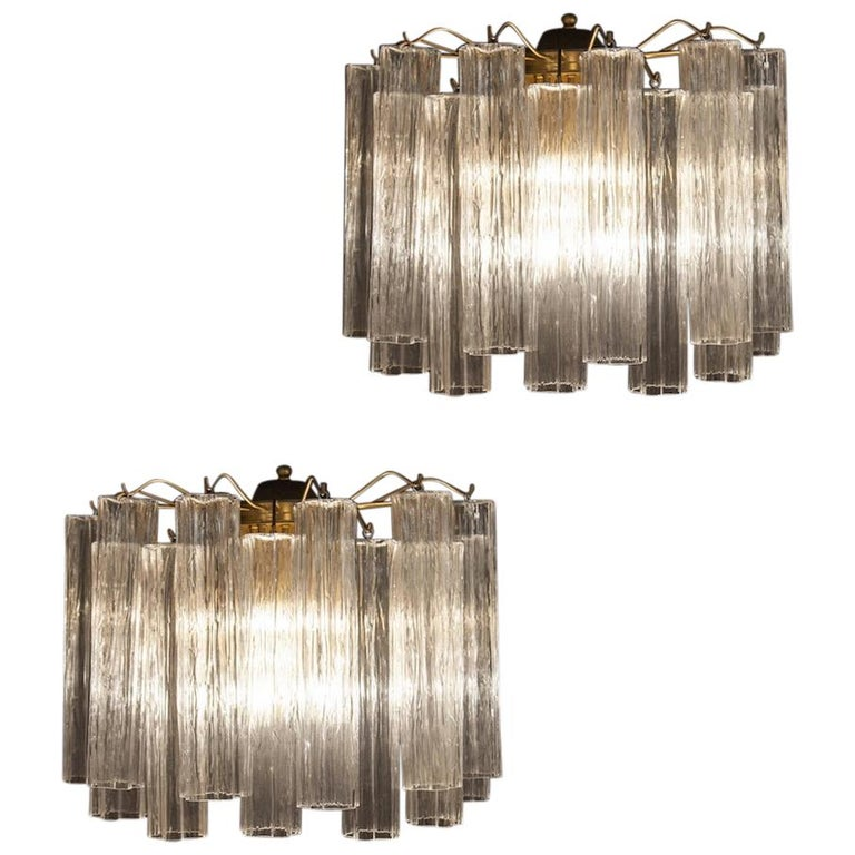 Pair of Murano Glass Tronchi Sconces, 1970s For Sale