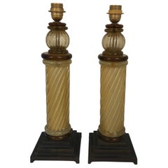 Pair of Murano Glass Twisted Column Murano Gold Inclusion Lamps