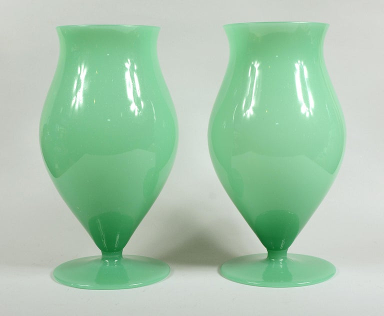 Pair of Murano urn shaped glass vases. These are a green opaque foamy glass.