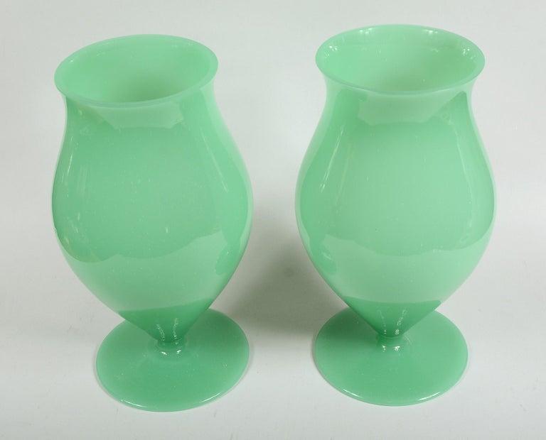 Italian Pair of Murano Glass Urn Shaped Vases For Sale