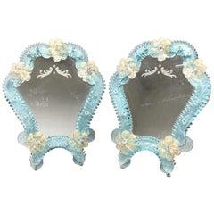 Pair of Murano Glass Vanity Mirror Flowers, circa 1950s, Italy Venetian Venice