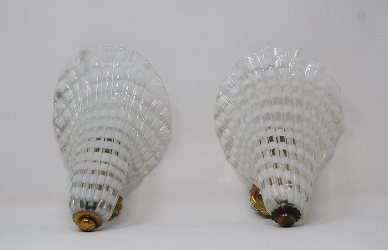 Italian Pair of Murano Glass Venini Sconces, 1950s For Sale