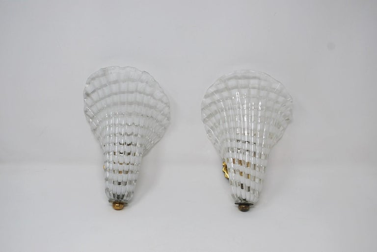 Pair of Murano Glass Venini Sconces, 1950s For Sale 1