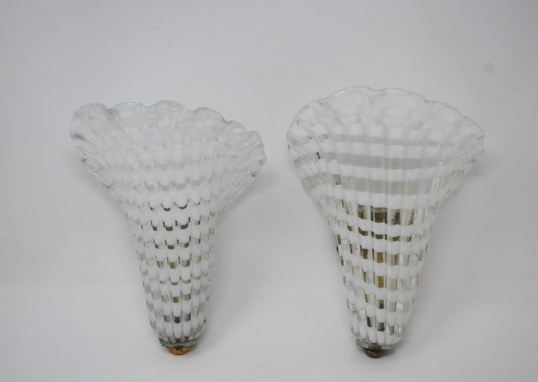 Pair of Murano Glass Venini Sconces, 1950s For Sale 3