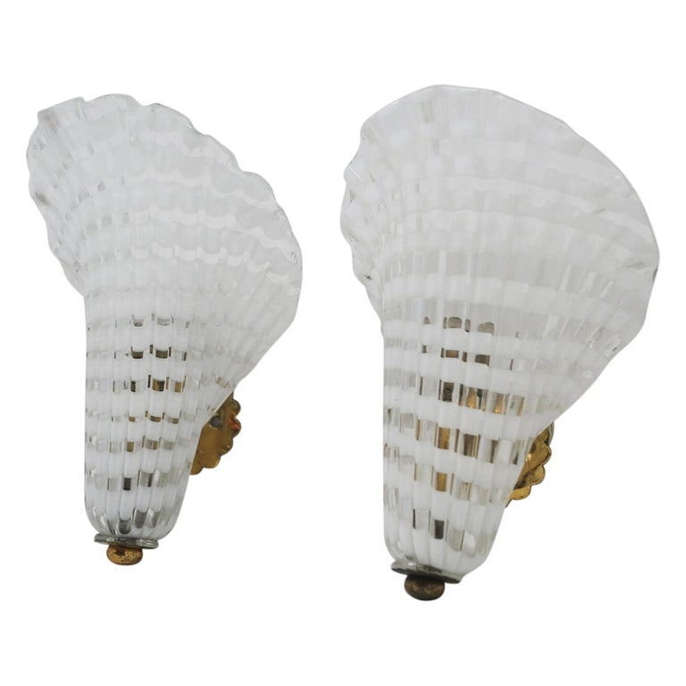 Pair of Murano Glass Venini Sconces, 1950s For Sale