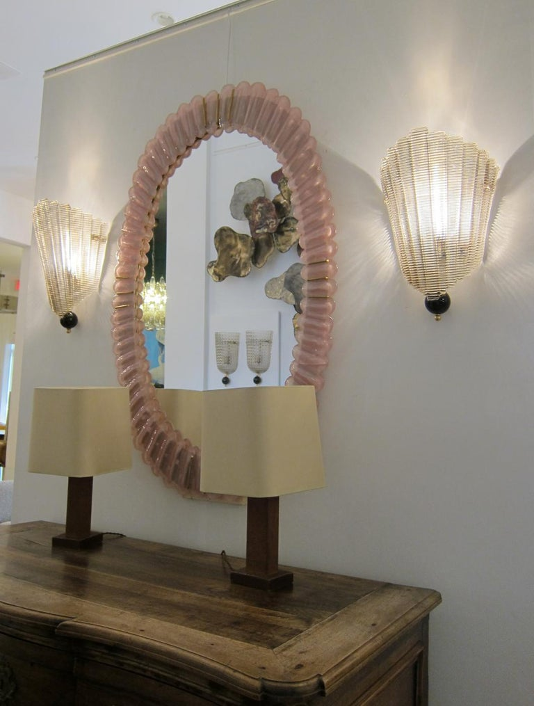Italian Pair of Murano Glass Wall Sconces, Art Deco Style, In Stock For Sale