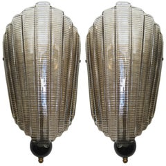 Pair of Murano Glass Wall Sconces, Art Deco Style.