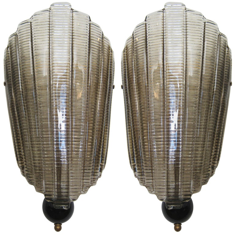 Pair of Murano Glass Wall Sconces, Art Deco Style, In Stock For Sale