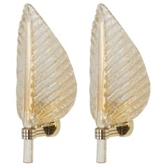 Pair of Murano Glass Wall Sconces by Barovier & Toso, Italy, 1970s