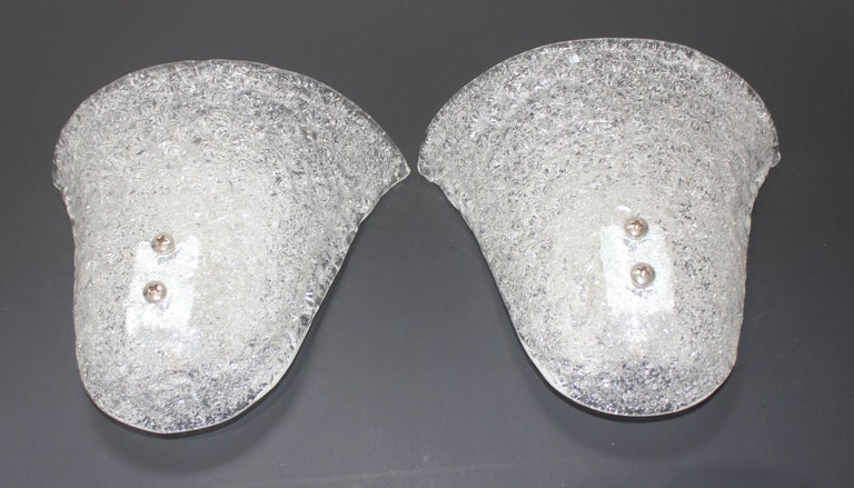 Pair of Murano Glass Wall Sconces For Sale 2
