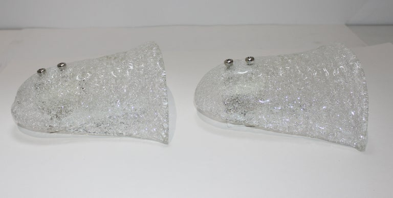Mid-Century Modern Pair of Murano Glass Wall Sconces For Sale