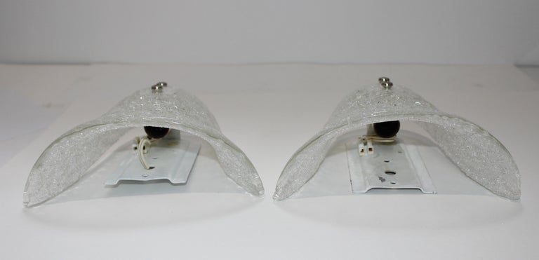 German Pair of Murano Glass Wall Sconces For Sale