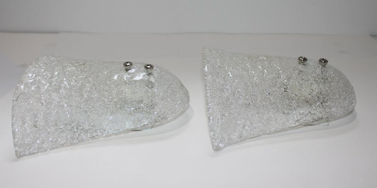 20th Century Pair of Murano Glass Wall Sconces For Sale