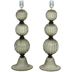 Pair of Murano Grey Glass Lamps in the Style of Barovier, Italy, Signed