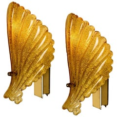 Pair of Murano Hand Blown Amber/Ocher Glass Sea Shell Sconces, Italy, 1960